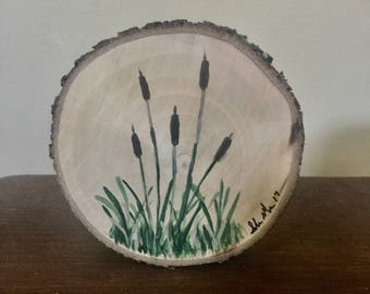 Cattails on Wood