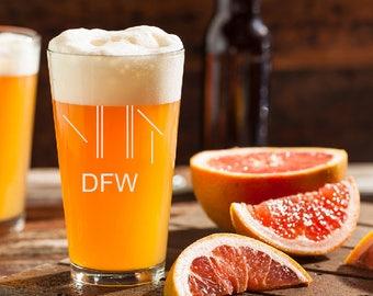DFW Airport Beer Glass, Pilot Beer Glass, Dallas Fort Worth, Airport Code Beer Glass, Runway Beer Glass, Gift for Pilot, Etched Beer Glass