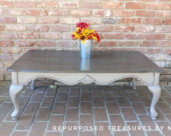 Beautiful Shabby Chic Coffee Table, Queen Anne Coffee Table, Distressed Coffee Table, Coffee  Table
