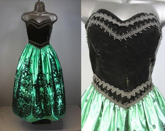 80's Prom Dress    80's Green Lame And Black Velvet Flocked Prom Dress 80's Party Dress 80's Bridesmaids Dress Size 6
