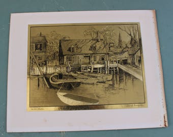 Lionel Barrymore vintage Gold Foil Print Harbor Shelter Seaworthy Dry Dock Home Port Harbor Shelter Waterfront