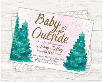 Winter baby shower digital invitation