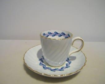 Vintage Mintons Cheviot Blue Demitasse Cup Saucer