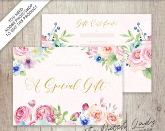 Gift Certificate Card Template - Design #23 - INSTANT DOWNLOAD - Layered .PSD Files