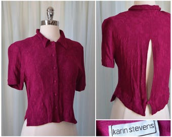 vtg 90s fuchsia open back blouse | old school 1990s shirt | size medium top | button down shirt | short sleeve blouse | streetwear urbanwear