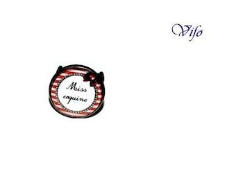 "Ring ""Miss Coquine"", red, black, white"