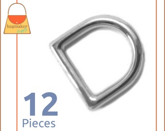 "1/2 Inch Cast D Rings, Nickel Finish, 12 Pieces, Handbag Purse Bag Making Hardware Supplies, .5 Inch, 1/2"", .5"", RNG-AA001"