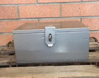 Vintage Faux Metal Box Made from Wood to Look Metal,