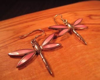 Retro Sterling Silver Mother of Pearl Dragonfly Earrings