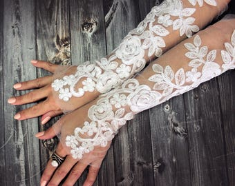 White long lace wedding gloves, french lace fingerless gloves, sophisticated lace wedding accessories