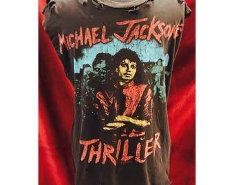 """Custom Distressed Vintage Michael Jackson """"Beat It"""" Tshirt"""