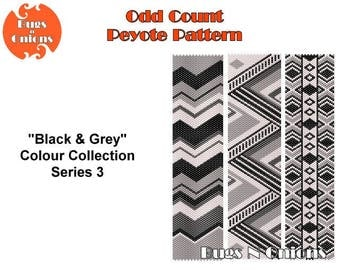 Peyote Stitch The Black and Grey Collection Odd Count Peyote Bracelet Pattern, Cuff Pattern, Instant Download