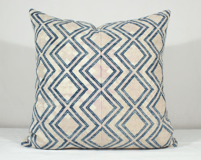 Vintage Chinese Wedding Blanket Pillow Cover / Boho Pink Tan Indigo Miao Dowry Textile / Handwoven Lumbar Cushion Cover