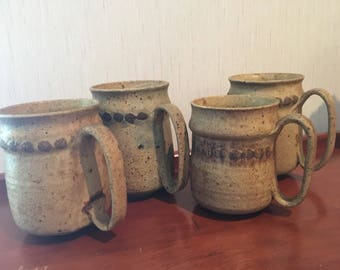 Charles Fager (4) Handmade Pottery Coffee Cups