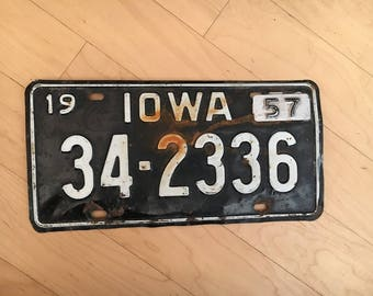 1956 plate Iowa with 1957 tag License Plate