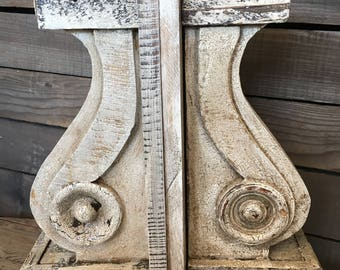 Pair of Antique Look Wooden Corbels Vintage Style Artisan Made Corbels