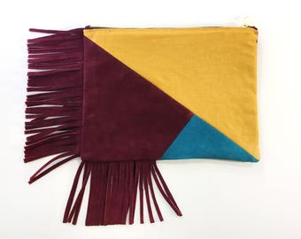 Mosaic Fringe Clutch - Yellow