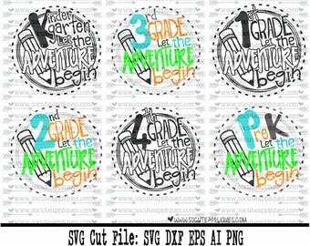 Back to school SVG, School let the adventure begin svg school svg, 1st grade svg, kindergarten svg, teacher svg, school svg, socuteappliques