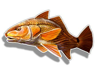 Redfish Sticker Printed Digital Vinyl Decal Fish Fishing Red Drum Car Truck Boat Reel Decals Sticky Cutoms