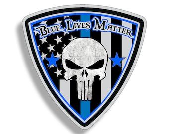 Punisher Blue Line USA American Flag Sticker Car Truck Window Bumper Vinyl Printed Police Law Enforcement Decal