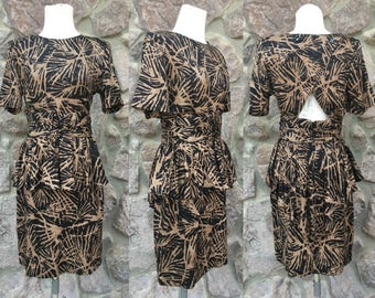 Vintage 80s-90s Milanzo Black and Tan Novelty Print Open Back Peplum Dress / Rayon / Women's Size 9/10 / Medium