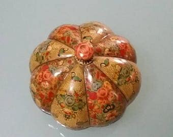 Vintage papier mache container, pumpkin, handmade, painted from India