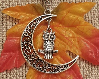 Owl in Moon Necklace, Free Shipping