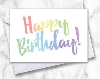 Happy Birthday Greeting Card, Simple Birthday Card, Rainbow Birthday Card, Happy Birthday Card, B-day Card, Plain Birthday Card, Greeting