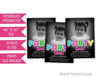Girls Birthday Party Invitations - Girls Birthday Invites - Photo Birthday Invitations - Girl Party Time - its Party Time 1st birthday