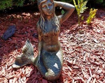 1920's Vintage Style Cast Iron Mermaid Reproduction. Nautical, Coastal, Beach, Ocean Decor. Verdigris Finish.