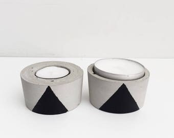 Cement tealight holder Black