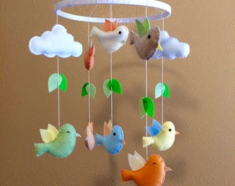 Baby mobile birds, Birds baby mobile, Birds mobile,rainbow baby mobile birds,Yellow baby mobile birds,Baby mobile leaves and bird