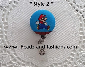 Mario brothers inspired red Badge Reel Holders