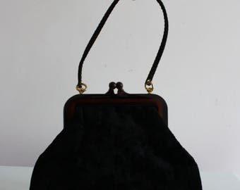 Vintage 1960s Black Velvet Evening Bag