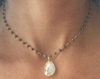 Moonstone Necklace // Moonstone Pyrite Necklace