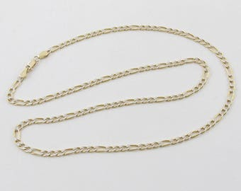 "14k Yellow And White Gold Figaro Chain Necklace 20"" 4 grams"