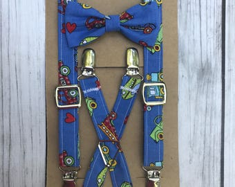 Transportation Suspenders and Bow Tie, Adjustable Neck Strap, Clip On OR Nylon Band, Airplane, Helicopter, Train, Truck, Hot Air Balloon