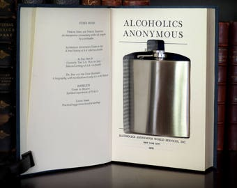 AA Flask Book Safe with New Flask, made from Alcoholics Anonymous, Gag Gift, Novelty, Bar Decor, Home Decor