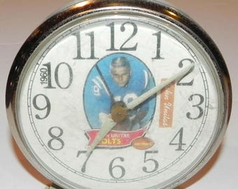 Vintage 1960's Johnny Unitas Baltimore Colts Alarm Clock
