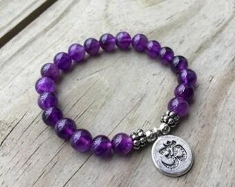 Amethyst Bracelet, Healing Energy Bracelet Boho bead bracelets stretch bracelet, Handmade elastic bracelet, wrist mala, yoga aum om