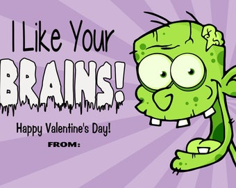 Zombie Valentine Cards Print at Home Digital File - Will Customize with Child's Name
