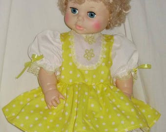 """Yellow Polka-dot Dress Set for Eegee 20"""" Carrie Baby"""