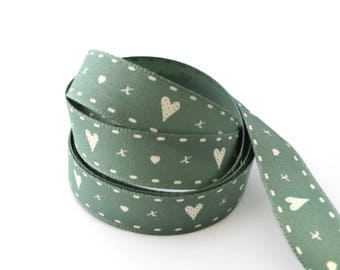 Ribbon hearts green color 15 mm