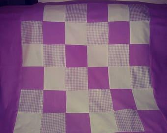 Lavender white quilt flannel, pieced crib  baby quilt handmade
