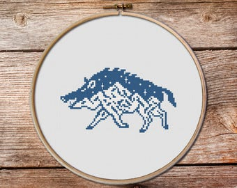 Boar Cross Stitch Pattern, wild boar cross stitch, keeper of the night cross stitch, modern cross stitch, mountains cross stitch, aper, #011