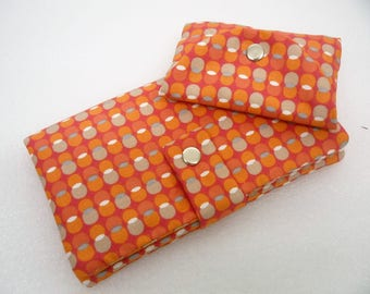 Checkbook holder + case checkbook holder, retro fabric orange