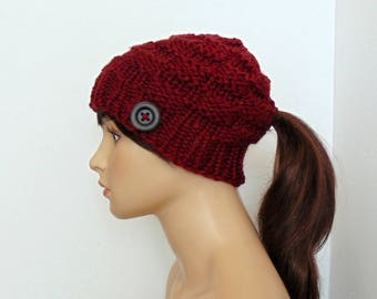 Red Ponytail Hat, Ponytail Beanie, Chunky Knit, Low Ponytail Hole, Valentine's Day Gift, Gift for Her, Mommy and Me Hats, Handmade in Alaska