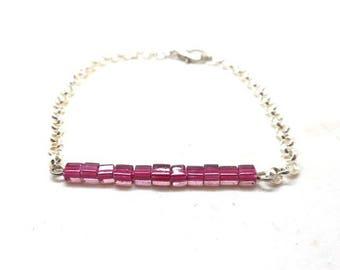 Dark pink square beads silver bracelet
