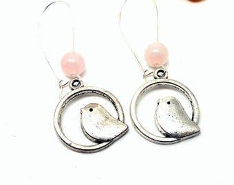 Earrings sleepers bird pink natural Pearl