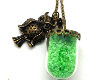 Long necklace glass globe sand thick green OWL charm